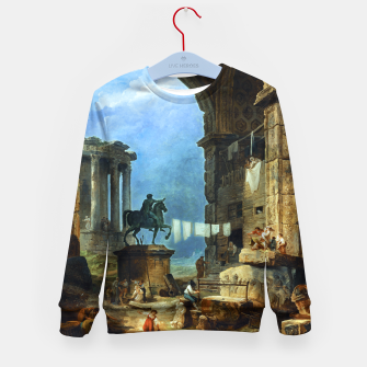 Thumbnail image of Capriccio of Roman Ruins and a Statue of Marcus Aurelius by Hubert Robert Kid's sweater, Live Heroes