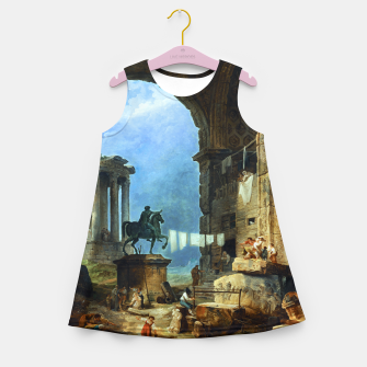 Thumbnail image of Capriccio of Roman Ruins and a Statue of Marcus Aurelius by Hubert Robert Girl's summer dress, Live Heroes