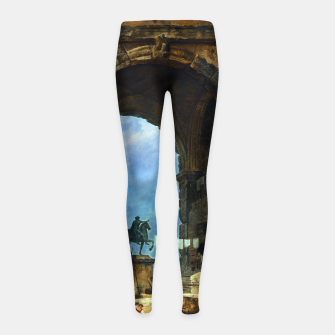 Thumbnail image of Capriccio of Roman Ruins and a Statue of Marcus Aurelius by Hubert Robert Girl's leggings, Live Heroes