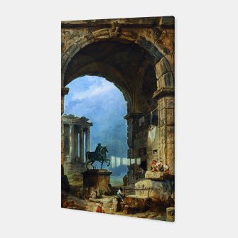 Thumbnail image of Capriccio of Roman Ruins and a Statue of Marcus Aurelius by Hubert Robert Canvas, Live Heroes