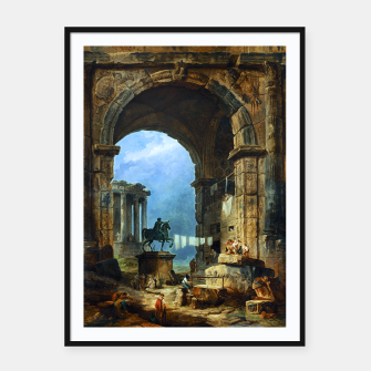Thumbnail image of Capriccio of Roman Ruins and a Statue of Marcus Aurelius by Hubert Robert Framed poster, Live Heroes