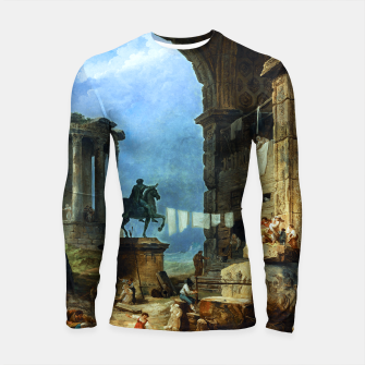 Thumbnail image of Capriccio of Roman Ruins and a Statue of Marcus Aurelius by Hubert Robert Longsleeve rashguard , Live Heroes