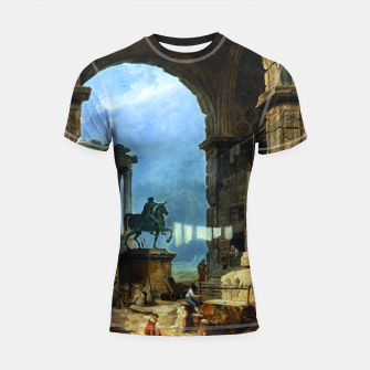 Thumbnail image of Capriccio of Roman Ruins and a Statue of Marcus Aurelius by Hubert Robert Shortsleeve rashguard, Live Heroes