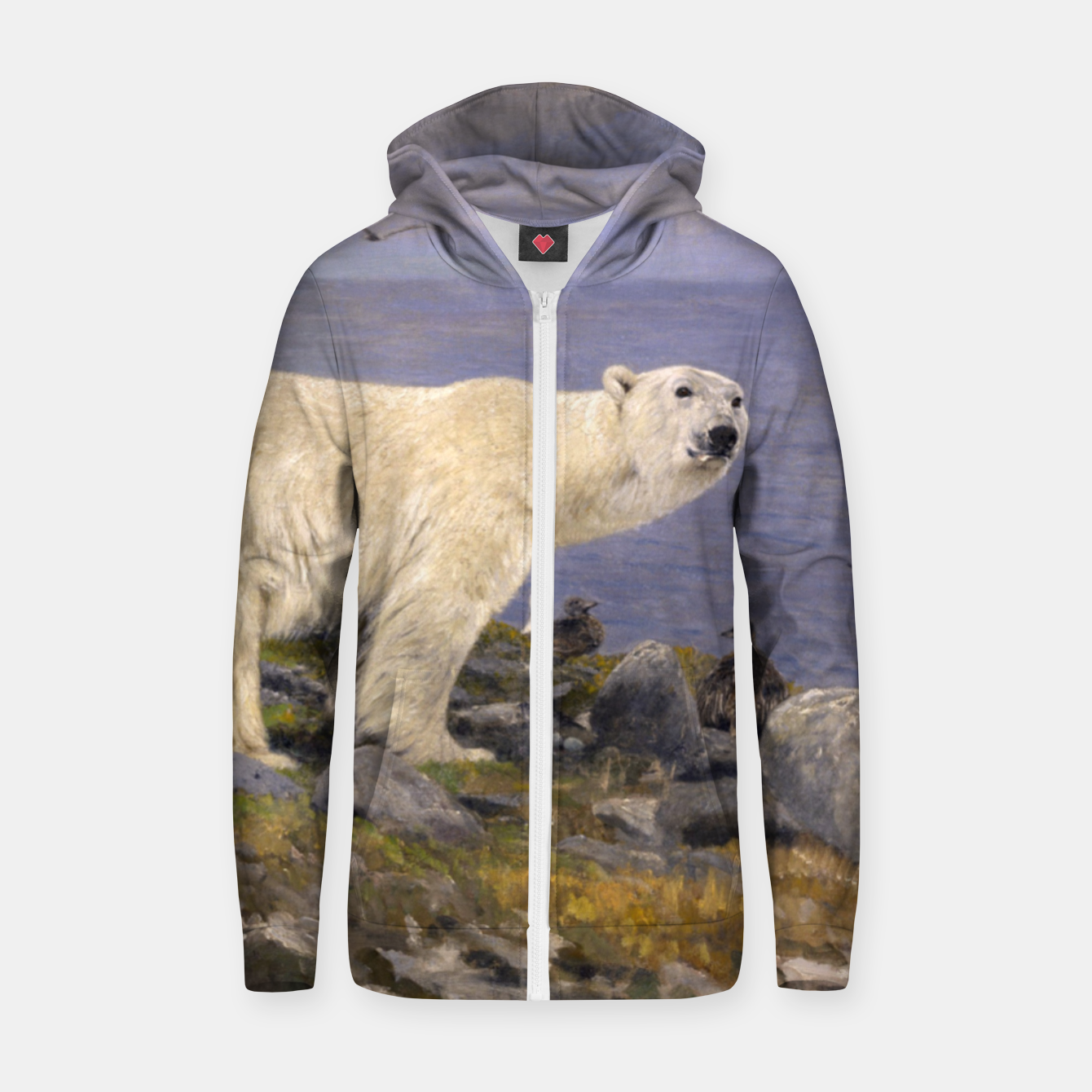 Image of Fashion items of Richard Friese Painting, Polar bear and Eider Ducks on the Coast Zip up hoodie - Live Heroes