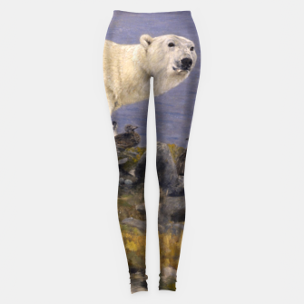 Thumbnail image of Fashion items of Richard Friese Painting, Polar bear and Eider Ducks on the Coast Leggings, Live Heroes