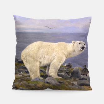 Thumbnail image of Fashion items of Richard Friese Painting, Polar bear and Eider Ducks on the Coast Pillow, Live Heroes