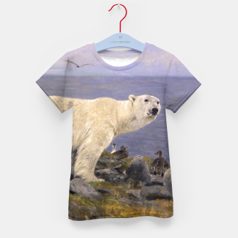 Thumbnail image of Fashion items of Richard Friese Painting, Polar bear and Eider Ducks on the Coast Kid's t-shirt, Live Heroes