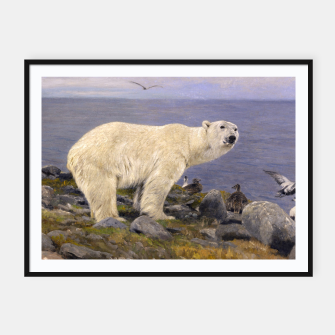 Thumbnail image of Fashion items of Richard Friese Painting, Polar bear and Eider Ducks on the Coast Framed poster, Live Heroes