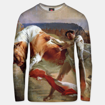 Thumbnail image of Fashion art made of Painting of Evgraf Sorokin, Ian Usmovets stopping the angry bull Unisex sweater, Live Heroes