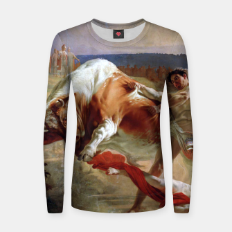 Thumbnail image of Fashion art made of Painting of Evgraf Sorokin, Ian Usmovets stopping the angry bull Women sweater, Live Heroes