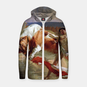 Thumbnail image of Fashion art made of Painting of Evgraf Sorokin, Ian Usmovets stopping the angry bull Zip up hoodie, Live Heroes