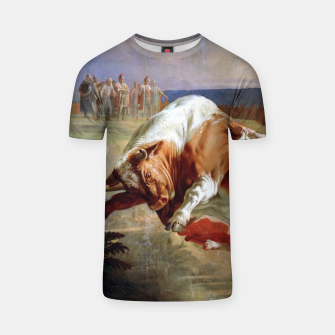 Thumbnail image of Fashion art made of Painting of Evgraf Sorokin, Ian Usmovets stopping the angry bull T-shirt, Live Heroes