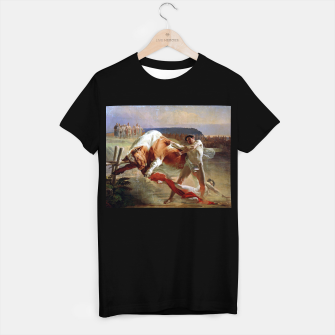Thumbnail image of Fashion art made of Painting of Evgraf Sorokin, Ian Usmovets stopping the angry bull T-shirt regular, Live Heroes