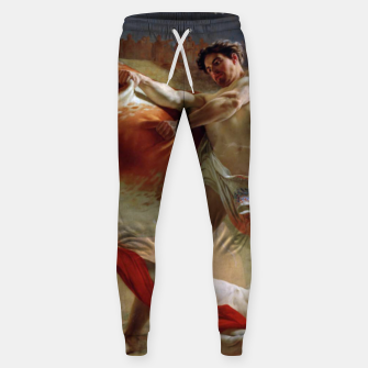 Thumbnail image of Fashion art made of Painting of Evgraf Sorokin, Ian Usmovets stopping the angry bull Sweatpants, Live Heroes