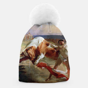 Thumbnail image of Fashion art made of Painting of Evgraf Sorokin, Ian Usmovets stopping the angry bull Beanie, Live Heroes