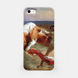 Thumbnail image of Fashion art made of Painting of Evgraf Sorokin, Ian Usmovets stopping the angry bull iPhone Case, Live Heroes