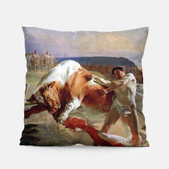Thumbnail image of Fashion art made of Painting of Evgraf Sorokin, Ian Usmovets stopping the angry bull Pillow, Live Heroes