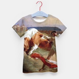 Thumbnail image of Fashion art made of Painting of Evgraf Sorokin, Ian Usmovets stopping the angry bull Kid's t-shirt, Live Heroes