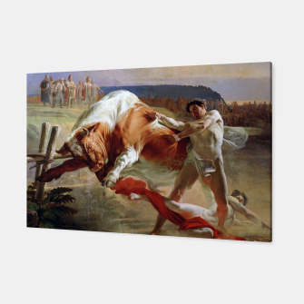Thumbnail image of Fashion art made of Painting of Evgraf Sorokin, Ian Usmovets stopping the angry bull Canvas, Live Heroes