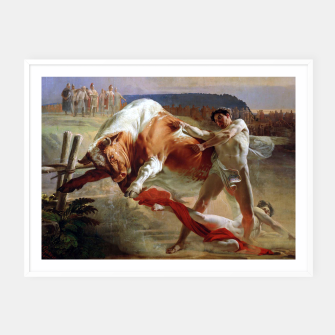 Thumbnail image of Fashion art made of Painting of Evgraf Sorokin, Ian Usmovets stopping the angry bull Framed poster, Live Heroes