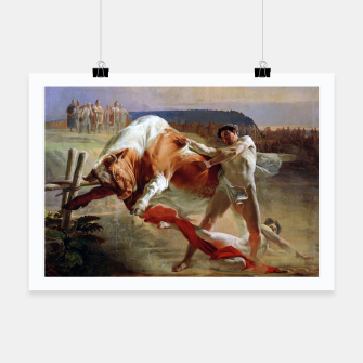 Thumbnail image of Fashion art made of Painting of Evgraf Sorokin, Ian Usmovets stopping the angry bull Poster, Live Heroes