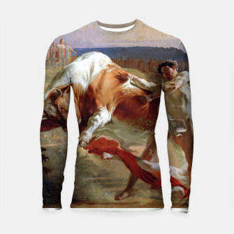 Thumbnail image of Fashion art made of Painting of Evgraf Sorokin, Ian Usmovets stopping the angry bull Longsleeve rashguard , Live Heroes