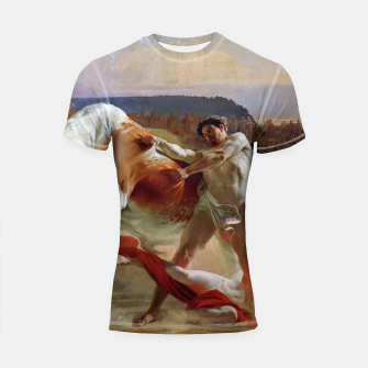 Thumbnail image of Fashion art made of Painting of Evgraf Sorokin, Ian Usmovets stopping the angry bull Shortsleeve rashguard, Live Heroes