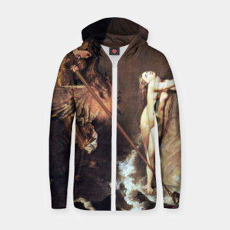 Fashion art of Jean August D. Ingres - Roger delivering Angelica Zip up hoodie miniature