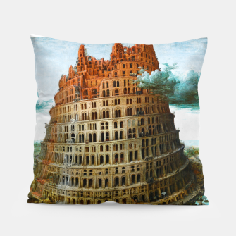 Fashion items of Peter Bruegel the Elder painting, The Tower of Babel Pillow miniature