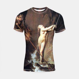 Fashion art of Jean August D. Ingres - Roger delivering Angelica Shortsleeve rashguard miniature