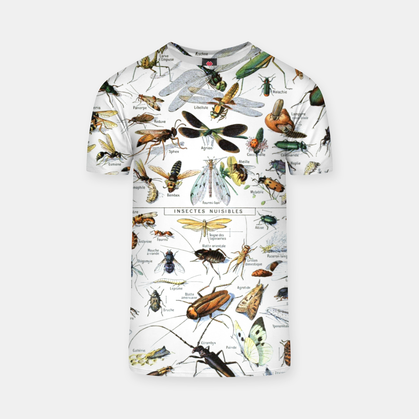 Foto Fashion and of an Illustration Map with Insects, from Larouse Encyclopedia T-shirt - Live Heroes