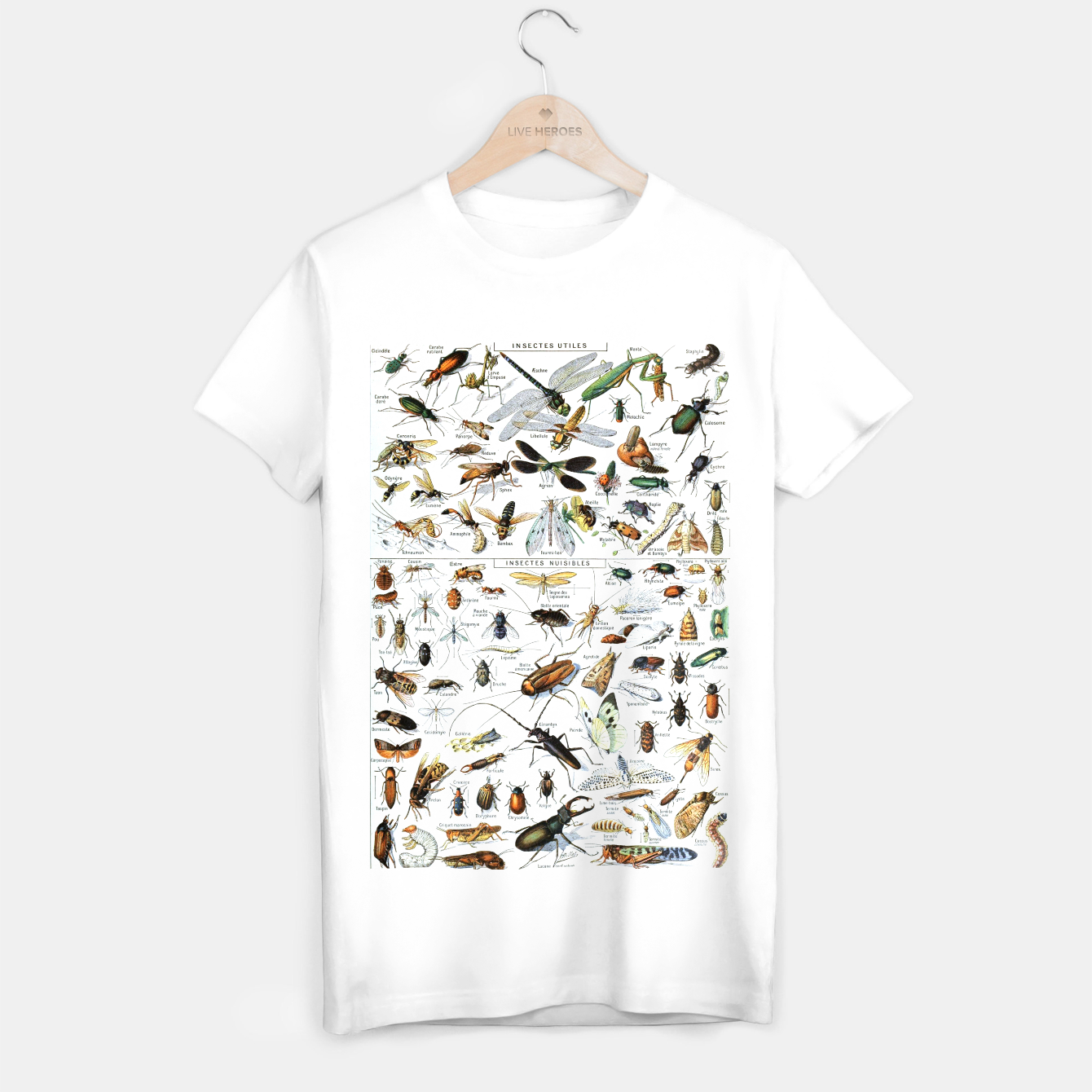 Foto Fashion and of an Illustration Map with Insects, from Larouse Encyclopedia T-shirt regular - Live Heroes