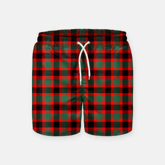 Christmas Tartan Pattern Swim Shorts miniature