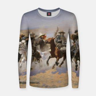 Thumbnail image of Fashion items of Frederic Remington painting - A dash for Timber Women sweater, Live Heroes
