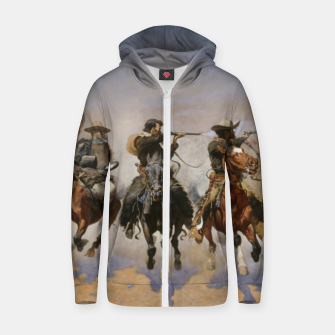 Thumbnail image of Fashion items of Frederic Remington painting - A dash for Timber Zip up hoodie, Live Heroes