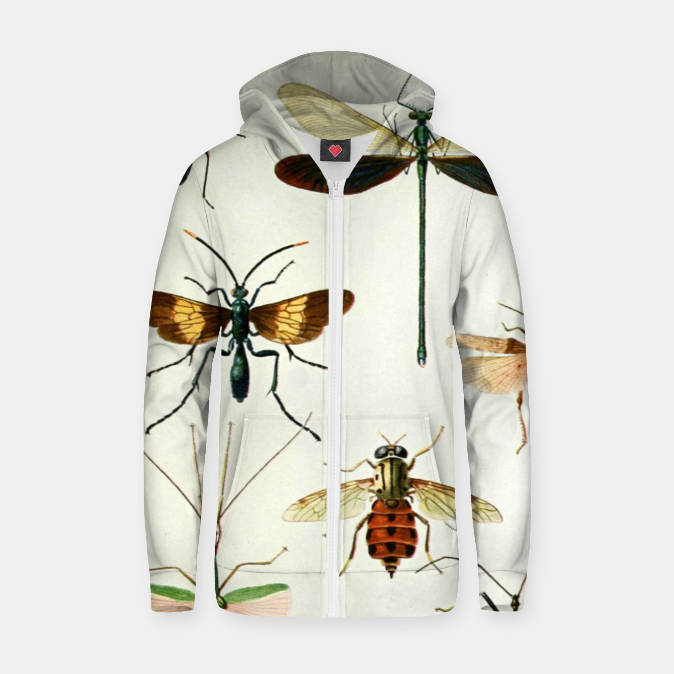 Foto Fashion art of a illustration from a Encyclopedia about Insects Zip up hoodie - Live Heroes