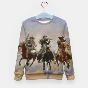 Thumbnail image of Fashion items of Frederic Remington painting - A dash for Timber Kid's sweater, Live Heroes