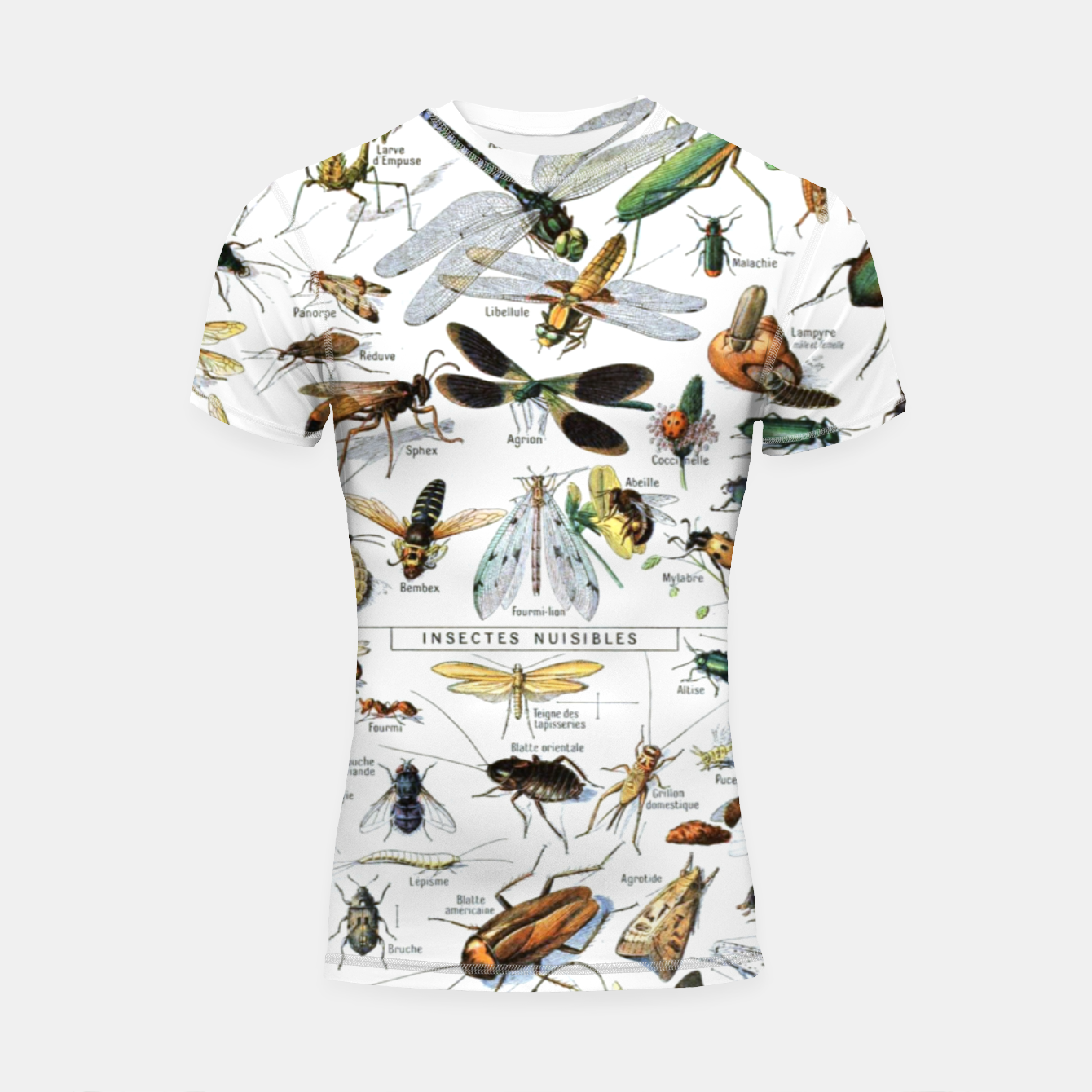 Foto Fashion and of an Illustration Map with Insects, from Larouse Encyclopedia Shortsleeve rashguard - Live Heroes