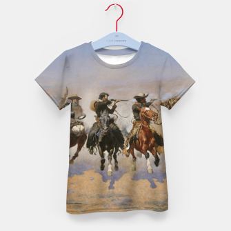 Thumbnail image of Fashion items of Frederic Remington painting - A dash for Timber Kid's t-shirt, Live Heroes