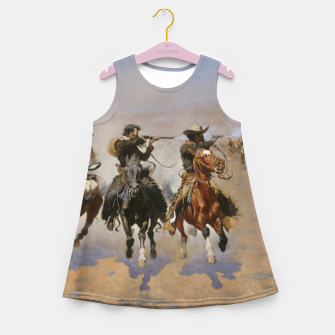Thumbnail image of Fashion items of Frederic Remington painting - A dash for Timber Girl's summer dress, Live Heroes