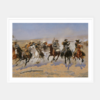 Thumbnail image of Fashion items of Frederic Remington painting - A dash for Timber Framed poster, Live Heroes