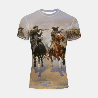 Thumbnail image of Fashion items of Frederic Remington painting - A dash for Timber Shortsleeve rashguard, Live Heroes