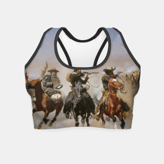 Thumbnail image of Fashion items of Frederic Remington painting - A dash for Timber Crop Top, Live Heroes