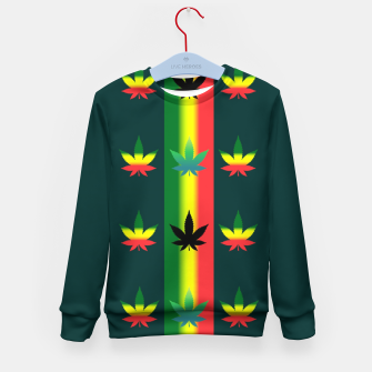 Thumbnail image of blue green tropical Kid's sweater, Live Heroes