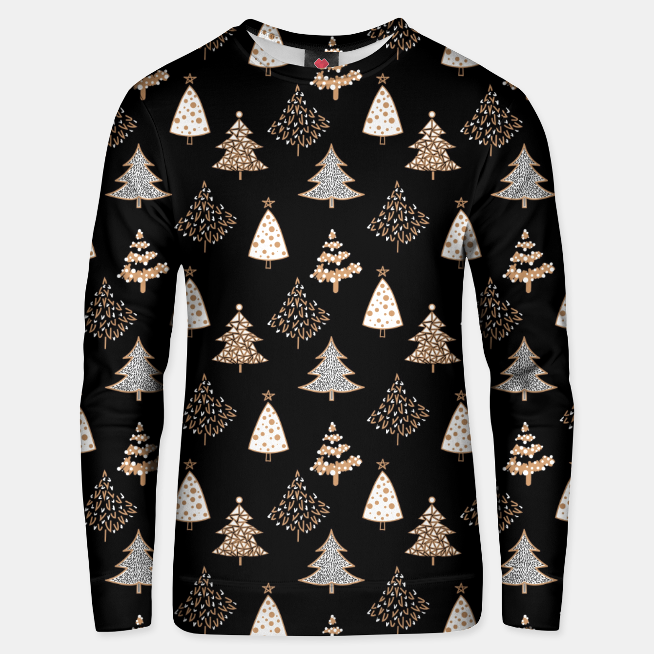 Image of Seamless Merry Christmas abstract fur tree pine tree black Unisex sweater - Live Heroes