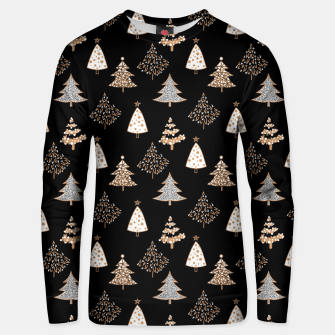 Seamless Merry Christmas abstract fur tree pine tree black Unisex sweater thumbnail image