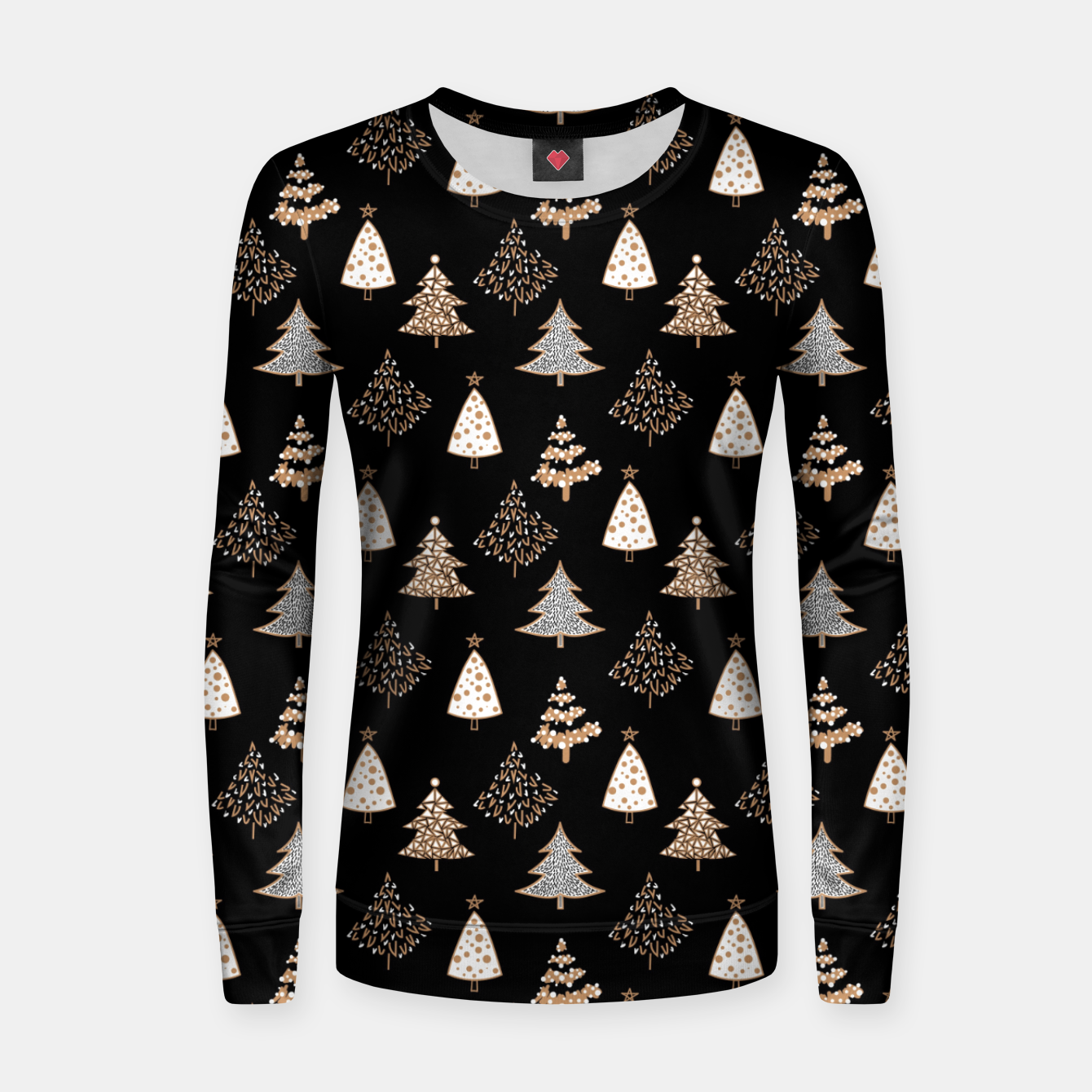 Image of Seamless Merry Christmas abstract fur tree pine tree black Women sweater - Live Heroes