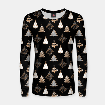 Seamless Merry Christmas abstract fur tree pine tree black Women sweater thumbnail image