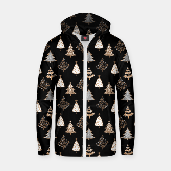 Thumbnail image of Seamless Merry Christmas abstract fur tree pine tree black Zip up hoodie, Live Heroes