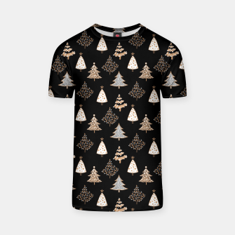 Thumbnail image of Seamless Merry Christmas abstract fur tree pine tree black T-shirt, Live Heroes